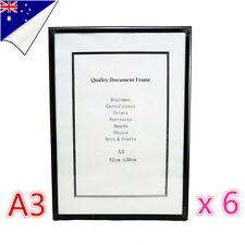 6 x Black A3 Size Document Certificate Photo Picture Glass Frame Bulk Sets
