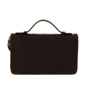 RRP €530 GUCCI Front Handle Clutch Bag Embossed GG Pattern Inner Pockets Zipped