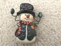 Vintage Christmas Xmas Holiday Snowman Brooch Pin