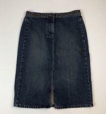 Womens J.CREW Denim Straight Pencil Skirt w/Front Slit & Brass Studs Sz 4
