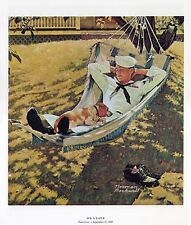 Norman Rockwell WWII WW2 Sailor Hammock Print ON LEAVE
