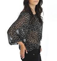 Women Long Sleeve Sheer Star Chiffon Top Black White Ladies Brand New UK S/M M/L