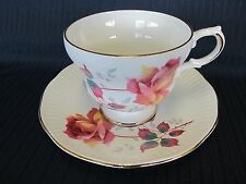 VINTAGE ROYAL DOVER FINE BONE CHINA RED/YELLOW ROSE CUP AND SAUCER-ENGLAND