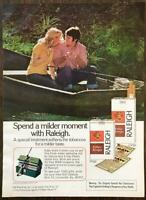 1973 Raleigh Cigarettes Print Ad Spend a Milder Moment Couple in Row Boat