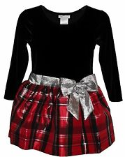 NEW Bonnie Jean Girls 4-6X Velvet to Plaid Red Silver Bow Christmas Party Dress