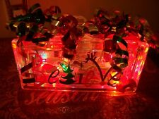"BEAUTIFUL CHRISTMAS "" BELIEVE "" DECORATIVE GLASS BLOCK THAT LIGHTS UP NEW !"