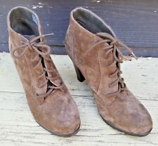 """BASS & CO ANKLE BOOTS NWOT BROWN SUEDE FATIMA LACE-UP SEXY 4"""" HIGH HEEL 7 M"""