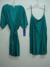 USA Made Nancy King Lingerie Chemise & Jacket Gown/Robe Size 2X Teal #861Q