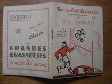 saison 1947 PROGRAMME Calendrier Rugby CHALON sur SAONE 1948 sport