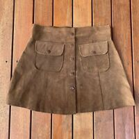 Westco Size 12 Brown Mini A Line Skirt 100% Pig Suade Cocktail Pockets
