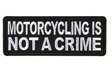 BIKER Leather Vest PATCH  MOTORCYCLING IS NOT A CRIME  rider Jacket Men's