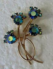 Brooch Beautiful Blue Sparkle Color Vintage Decorative Floral Pin -
