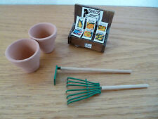 Doll House Garden Equipment Seed Rack Rake & Hoe Clay Pots