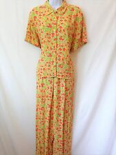 SIGRID OLSEN Womens Green Pink Orange Floral 100% Rayon Pant Set Size 14 Large L