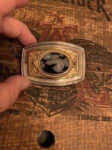 Vintage Snowflake Obsidian Stone Brass Belt Buckle