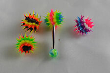 piercing de langue avec ces 4  boules virus , sexy,fluo,fun