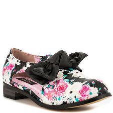 New Iron Fist Women's Bun N' Roses Black Printed Oxfords Shoes Size 8