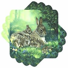 Rabbit Family Set of 4 Square Coasters Bar Table