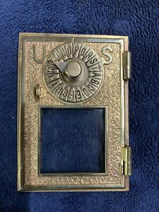 Vintage 1800's ?—U S--- Brass Post Office Box,, Mail Door  Polished Very Nice