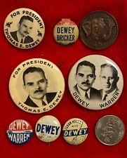 Original THOMAS DEWEY BRICKER WARREN POLITICAL CAMPAIGN PINBACK BUTTON PINS