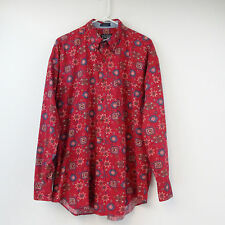 Chaps Ralph Lauren Men's Shirt Native Print Abstract Casual Size Large Vintage