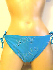 FREE BY GOTTEX BLUE FLOWER SEQUIN TIE SIDED BIKINI BRIEFS BOTTOMS SIZE 16