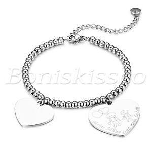 Free Engraving Stainless Steel Polish Heart Pendant Bracelet Mother's Day Gift