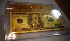 24 KARAT GOLD $100 DOLLAR - GREEN SEAL -NEWQ USA  BILL- IN ACRYLIC SLAB HOLDER