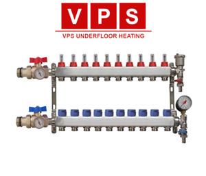 10-port Underfloor Heating Manifold with Eurocones, Valves & Gauges