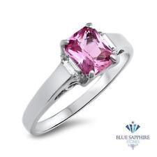 1.76ct Emerald Natural Pink Sapphire Ring with Diamond Accents in 18K White Gold