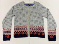 Girls LG (14) Lands End Fox/Heart Polka Dotted Cotton Blend Cardigan Sweater