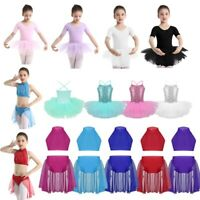 Kids Girls Lyrical Ballet Dance Dress Sequin Tutu Leotard Gymnastics Costume Set
