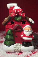 De Cerámica Grande Padre Navidad Gruta Casa Tea Light Candle Holder 7920