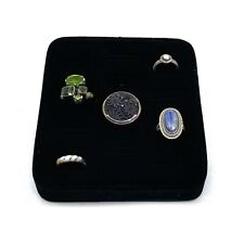 Black Velvet Angled Ring Cuff Link Display 12 Slot Jewelry Showcase Stand