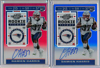 DAMIEN HARRIS 2pc 2019 Contenders Optic RED & BLUE Prizm Rookie Ticket AUTOs
