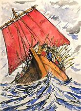 Künstlerische Seefahrt & Schiffe Malereien von 1900-1949 als Original der Zeit