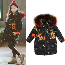 Children Girls Winter Fur Hooded Coat Jacket Down Cotton Padded Print Parka