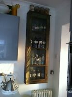 Antique slim tall glass front cabinet + 20 old apothecary bottles REDUCED