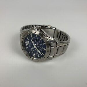 Citizen Men's WR100 Silver Stainless Steel Wrist Watch Blue Face Needs Battery