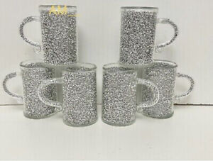 LUXURIOUS CRUSHED CRYSTAL FILLED CUPS SILVER KITCHEN TEA COFFEE CUPS GIFT SET