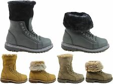 WOMENS CATERPILLAR CAT DUELIST WINTER LEATHER FAUX FUR WALKING BOOTS SIZES 3 - 8