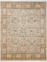 8X10 Hand-Knotted Lahore Carpet Oriental Grey Fine Wool Area Rug D40523