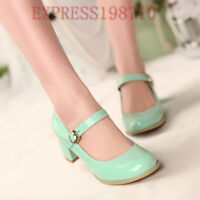 Women Mary Jane Ankle Strap Lolita Strappy Block Heel Hot Buckle Chunky Shoes