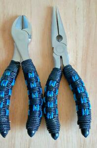 Fishing Plier Set BASKET WEAVE HANDLES  with Bonus Plier Sheath #PBW-101