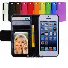 iPhone 5S 5 SE 5C Case for Apple - Premium Leather Wallet Flip Cover