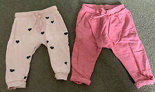 2 X Girls Joggers Trousers Next H&M 3-6 Months