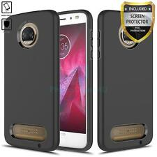 [MOTOROLA MOTO Z2 FORCE / Z2 PLAY] DUAL BLACK SILICONE COVER CASE + PROTECTOR