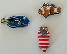 ORIGAMI OWL CLOWN FISH TANG FISH RED STRIPED SWIM SUIT CHARM SET RETIRED