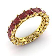 Certified 3.49 Ct Princess Garnet & Diamond Eternity Band Ring 10k Yellow Gold