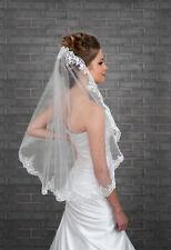 Weiß/Elfenbein Brautschleier Spitze Applikation Kante Mit einem Kamm Schleier
